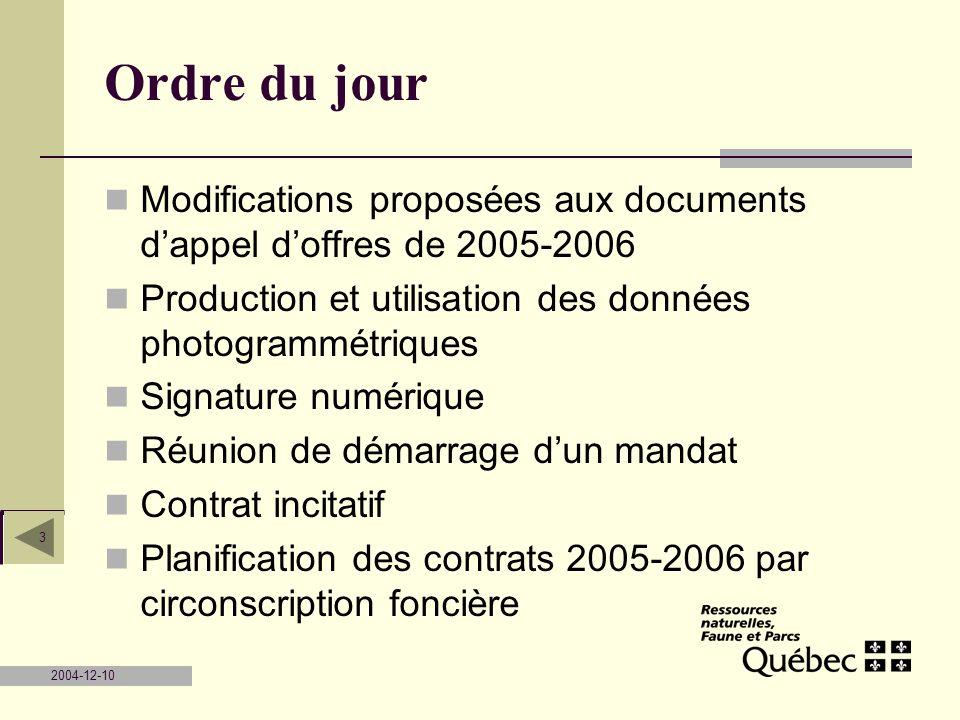 2004-12-10 3 Ordre du jour Modifications proposées aux documents dappel doffres de 2005-2006 Production et utilisation des données photogrammétriques