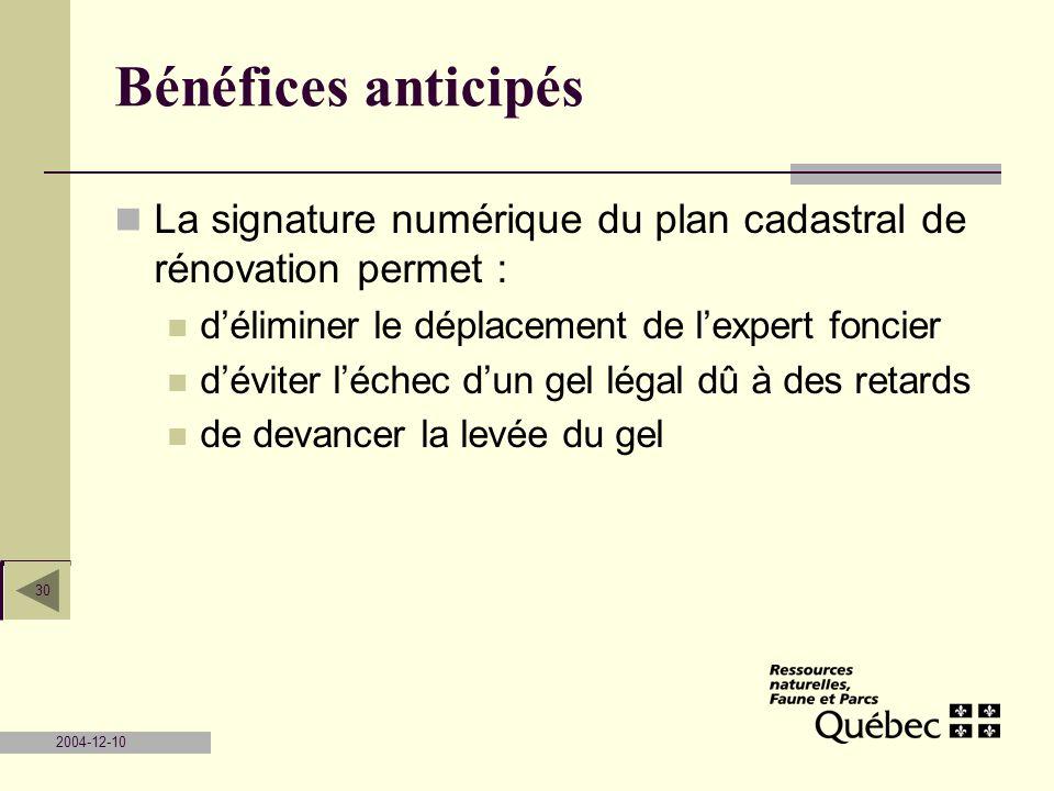 2004-12-10 30 Bénéfices anticipés La signature numérique du plan cadastral de rénovation permet : déliminer le déplacement de lexpert foncier déviter