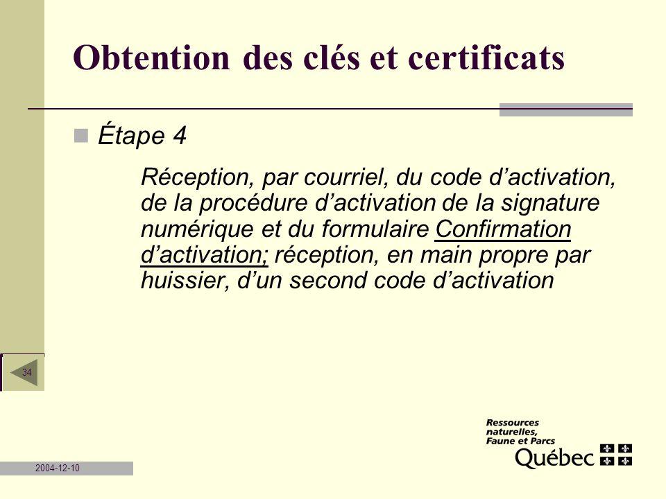 2004-12-10 34 Obtention des clés et certificats Étape 4 Réception, par courriel, du code dactivation, de la procédure dactivation de la signature numé