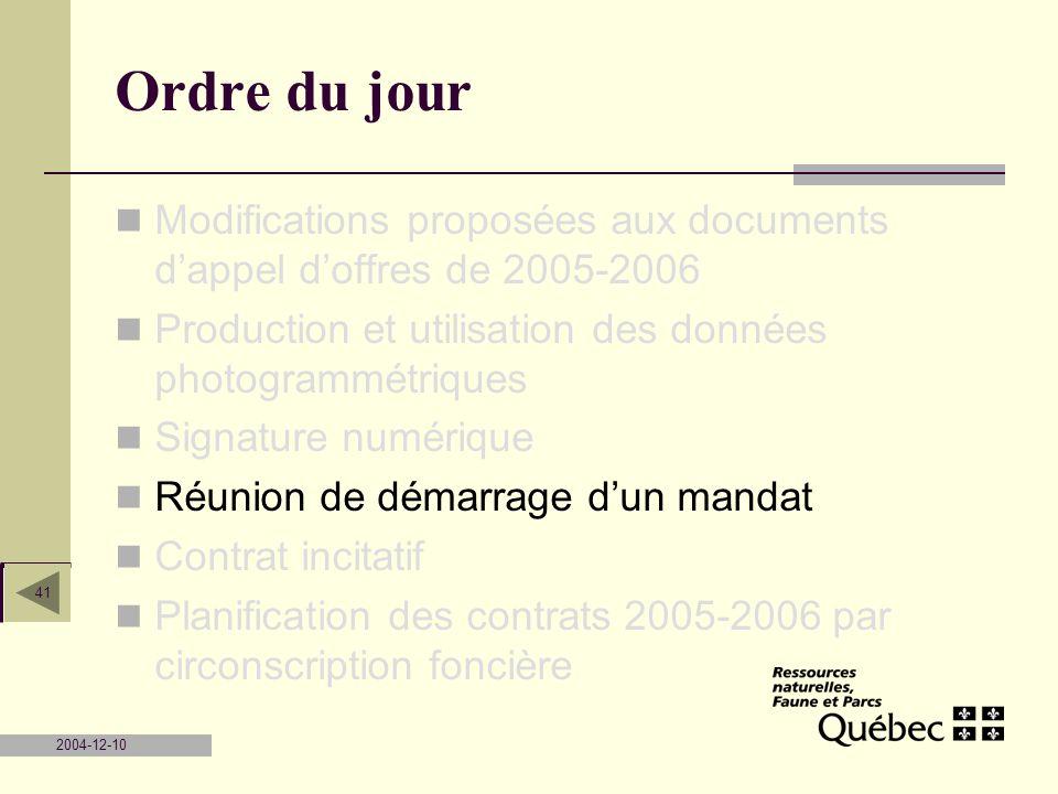 2004-12-10 41 Ordre du jour Modifications proposées aux documents dappel doffres de 2005-2006 Production et utilisation des données photogrammétriques