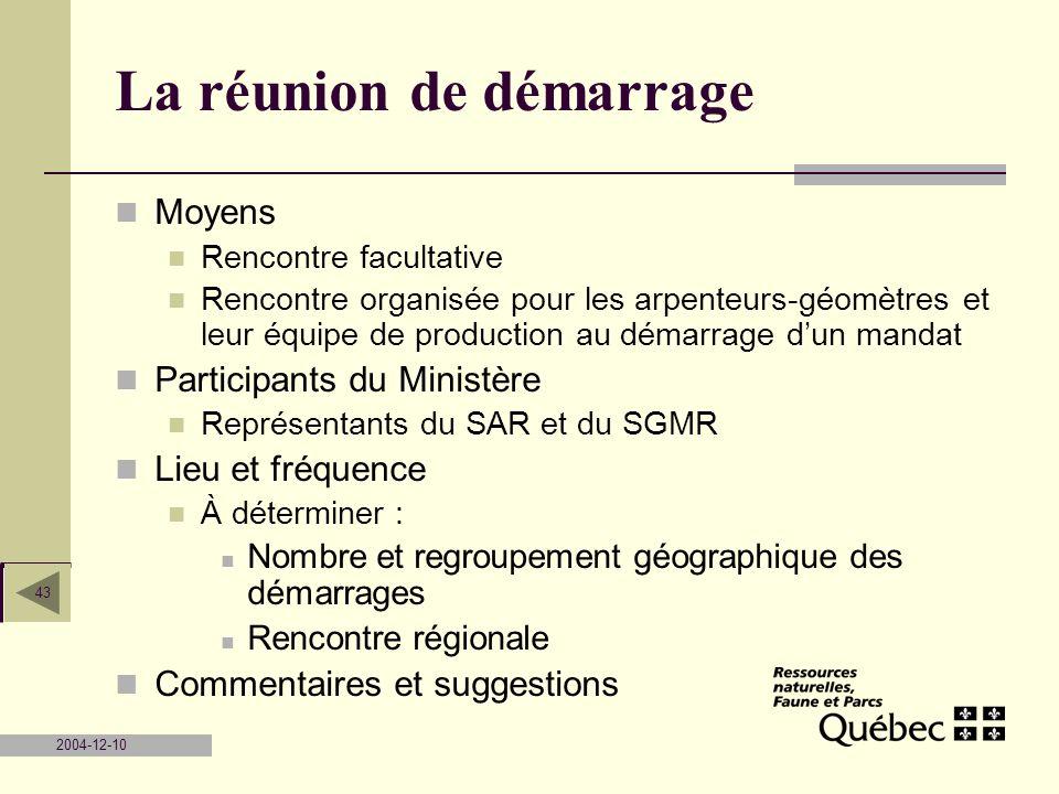 2004-12-10 43 La réunion de démarrage Moyens Rencontre facultative Rencontre organisée pour les arpenteurs-géomètres et leur équipe de production au d
