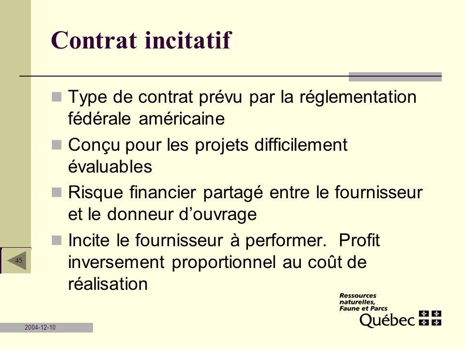 2004-12-10 45 Contrat incitatif Type de contrat prévu par la réglementation fédérale américaine Conçu pour les projets difficilement évaluables Risque