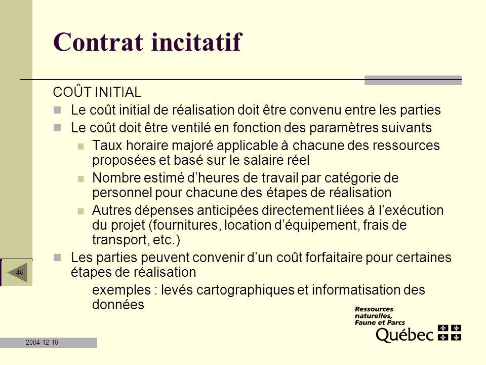 2004-12-10 46 Contrat incitatif COÛT INITIAL Le coût initial de réalisation doit être convenu entre les parties Le coût doit être ventilé en fonction