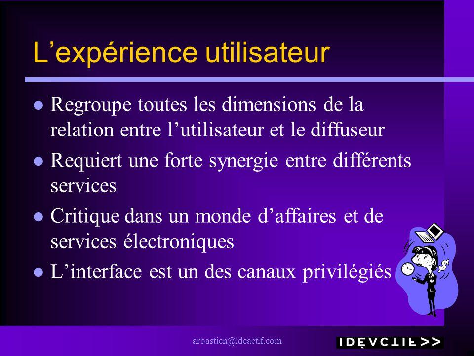 arbastien@ideactif.com Lexpérience utilisateur Regroupe toutes les dimensions de la relation entre lutilisateur et le diffuseur Requiert une forte syn
