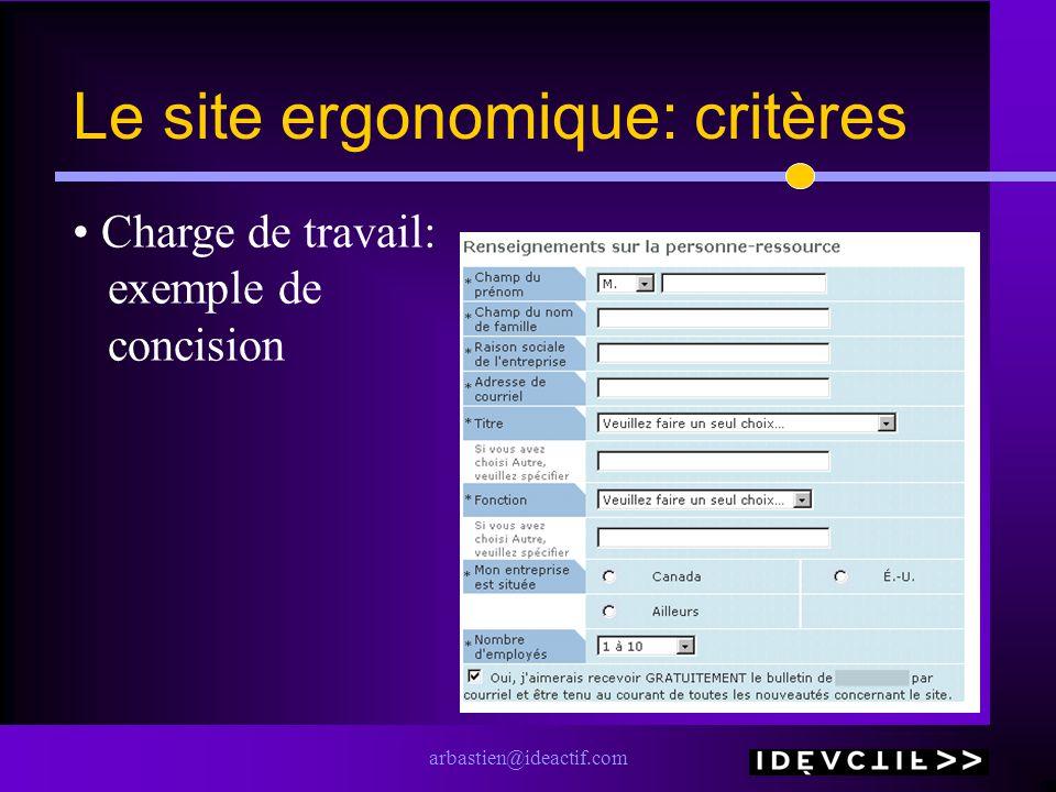 arbastien@ideactif.com Le site ergonomique: critères Charge de travail: exemple de concision