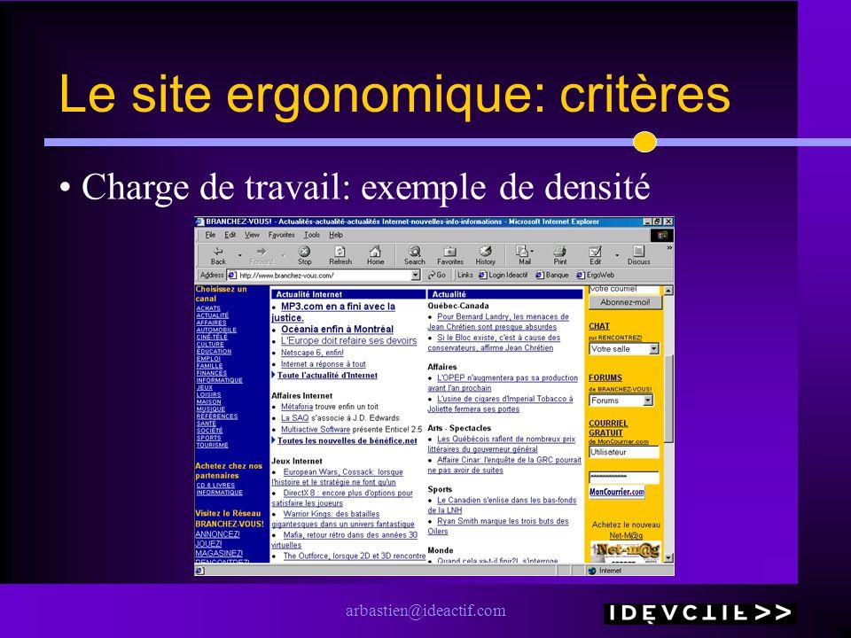 arbastien@ideactif.com Le site ergonomique: critères Charge de travail: exemple de densité