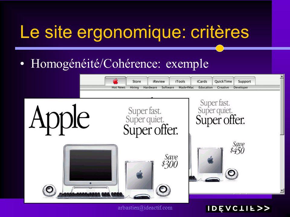 arbastien@ideactif.com Le site ergonomique: critères Homogénéité/Cohérence: exemple