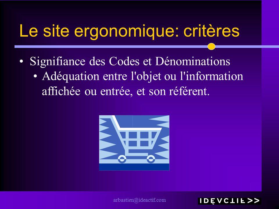 arbastien@ideactif.com Le site ergonomique: critères Signifiance des Codes et Dénominations Adéquation entre l'objet ou l'information affichée ou entr