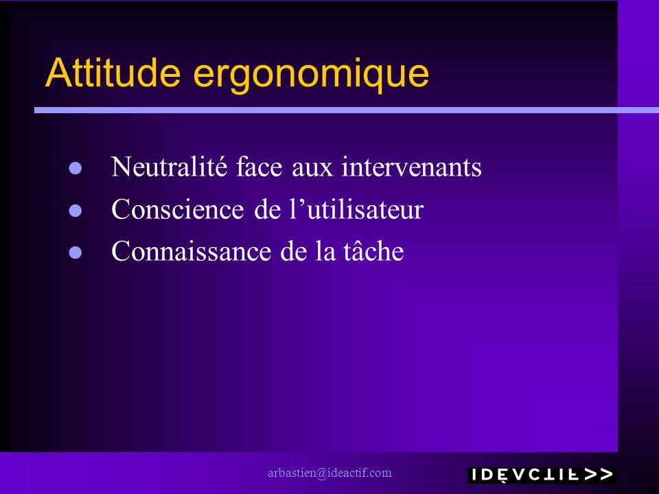 arbastien@ideactif.com Attitude ergonomique Neutralité face aux intervenants Conscience de lutilisateur Connaissance de la tâche