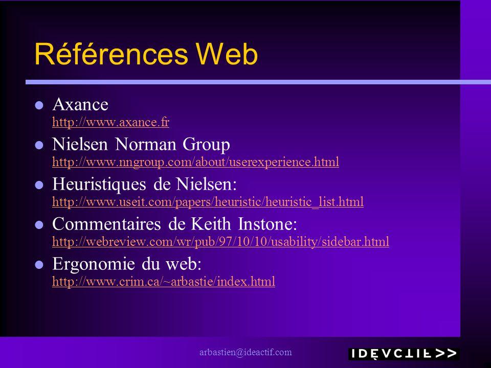 arbastien@ideactif.com Références Web Axance http://www.axance.fr http://www.axance.fr Nielsen Norman Group http://www.nngroup.com/about/userexperienc