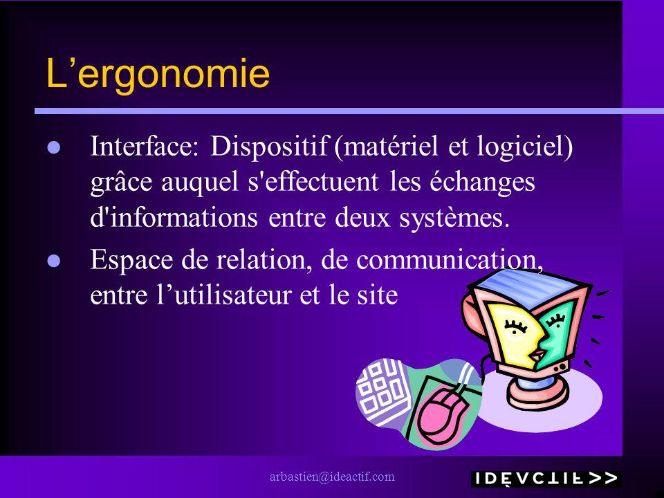 arbastien@ideactif.com Lergonomie Interface: Dispositif (matériel et logiciel) grâce auquel s'effectuent les échanges d'informations entre deux systèm