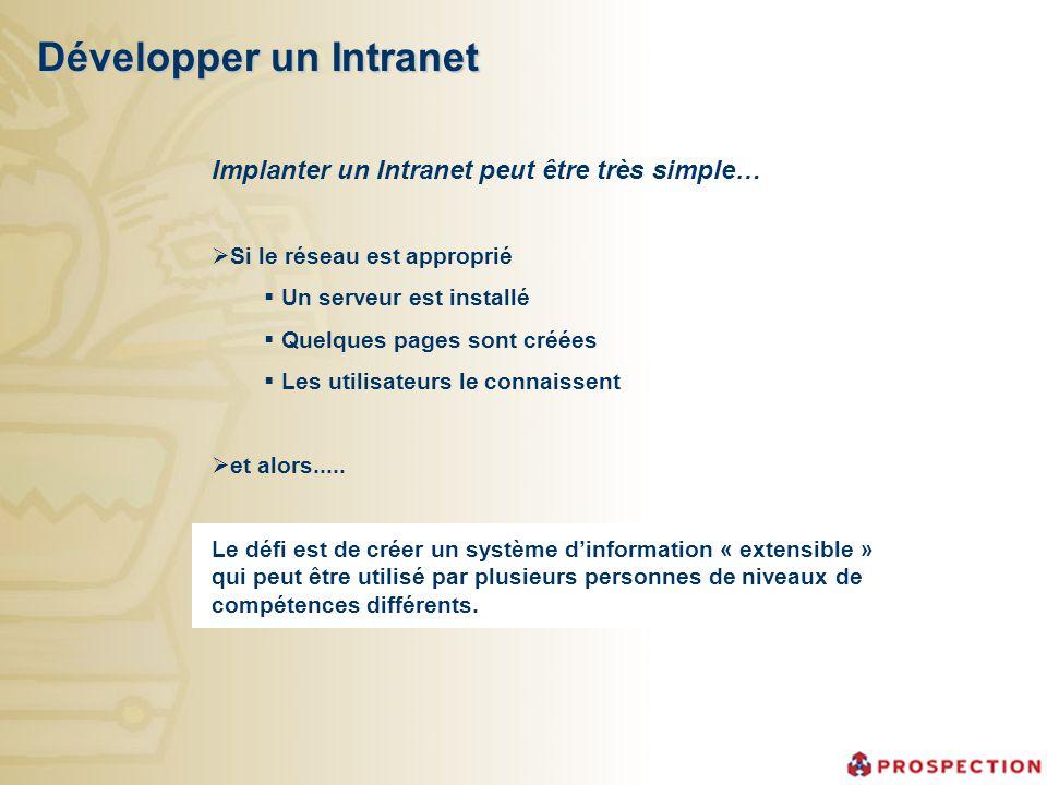 Développer un Intranet Implanter un Intranet peut être très simple… Si le réseau est approprié Un serveur est installé Quelques pages sont créées Les