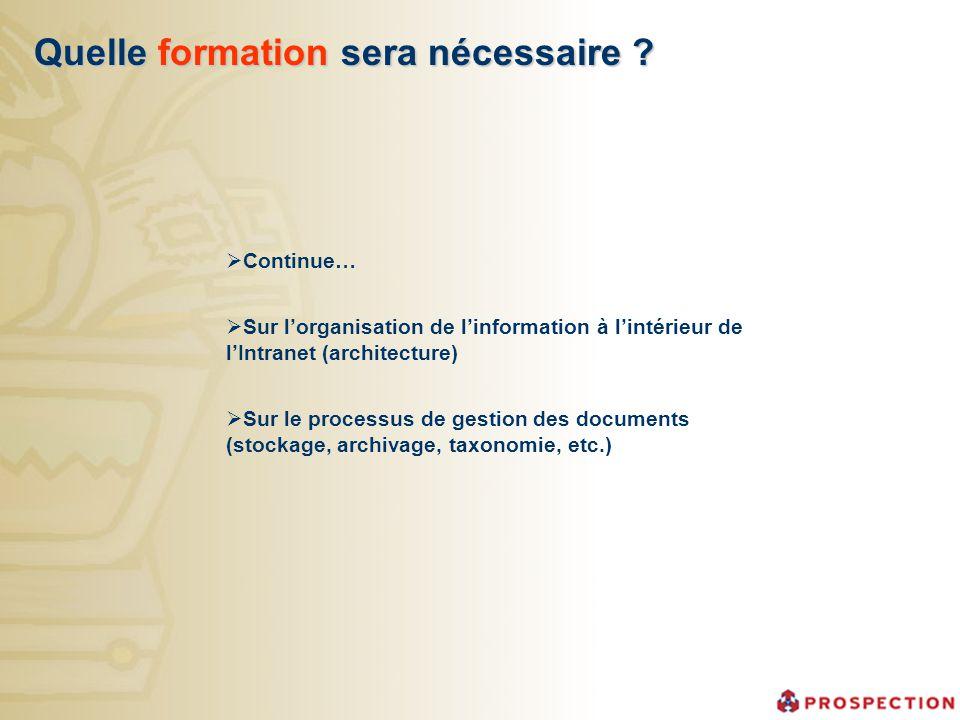 Quelle formation sera nécessaire ? Continue… Sur lorganisation de linformation à lintérieur de lIntranet (architecture) Sur le processus de gestion de