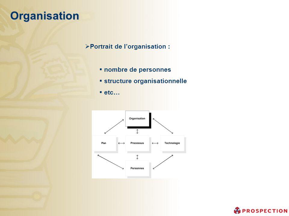 Organisation Portrait de lorganisation : nombre de personnes structure organisationnelle etc…