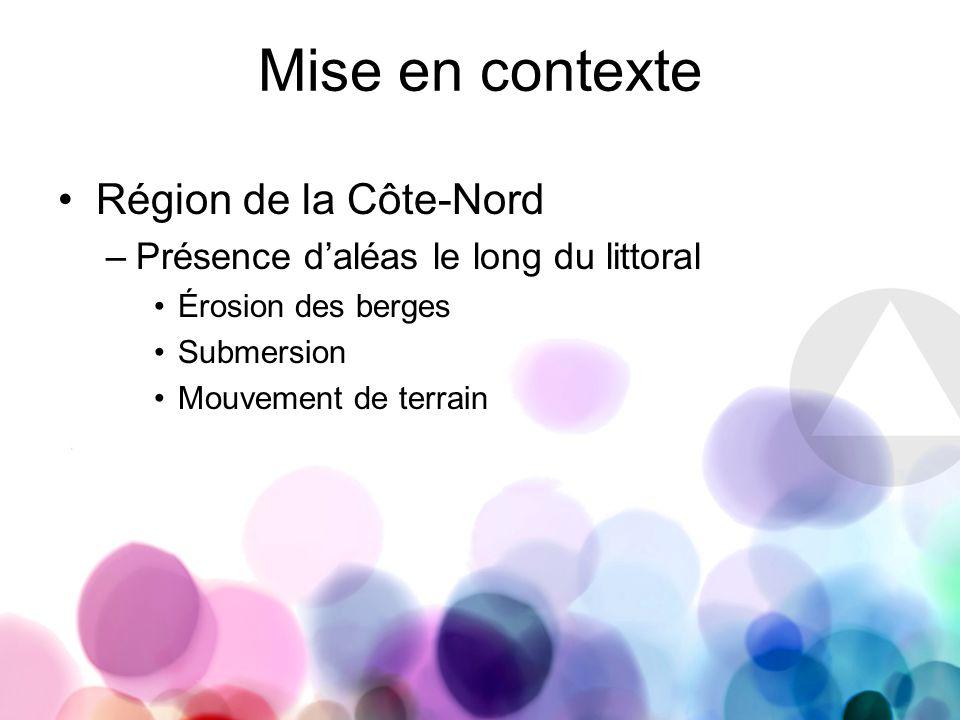 Mise en contexte Région de la Côte-Nord –Présence daléas le long du littoral Érosion des berges Submersion Mouvement de terrain