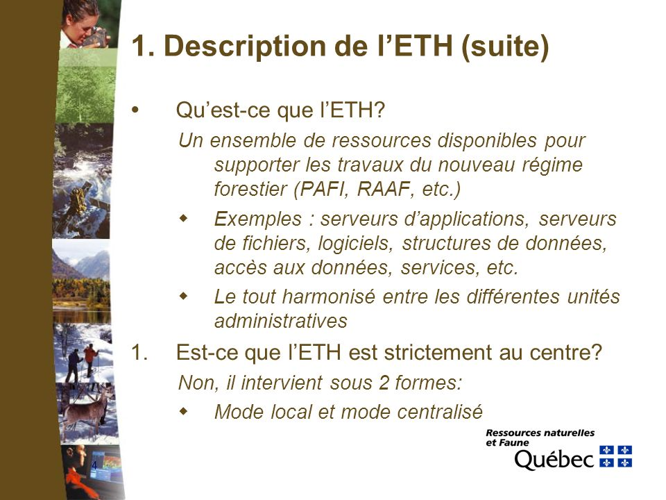 4 1. Description de lETH (suite) Quest-ce que lETH.