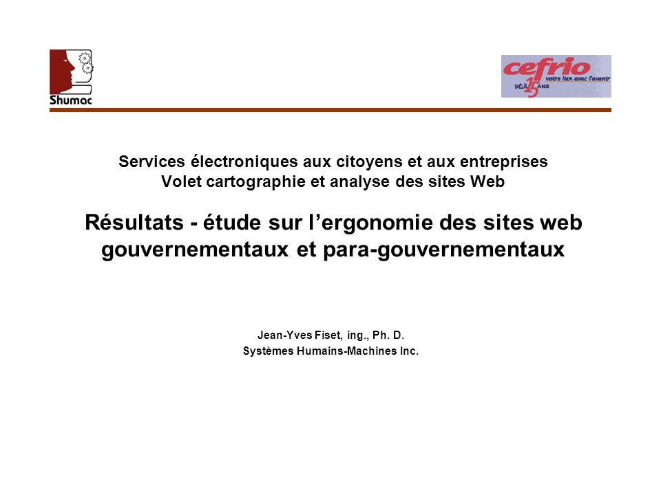 Services électroniques aux citoyens et aux entreprises Volet cartographie et analyse des sites Web Résultats - étude sur lergonomie des sites web gouv