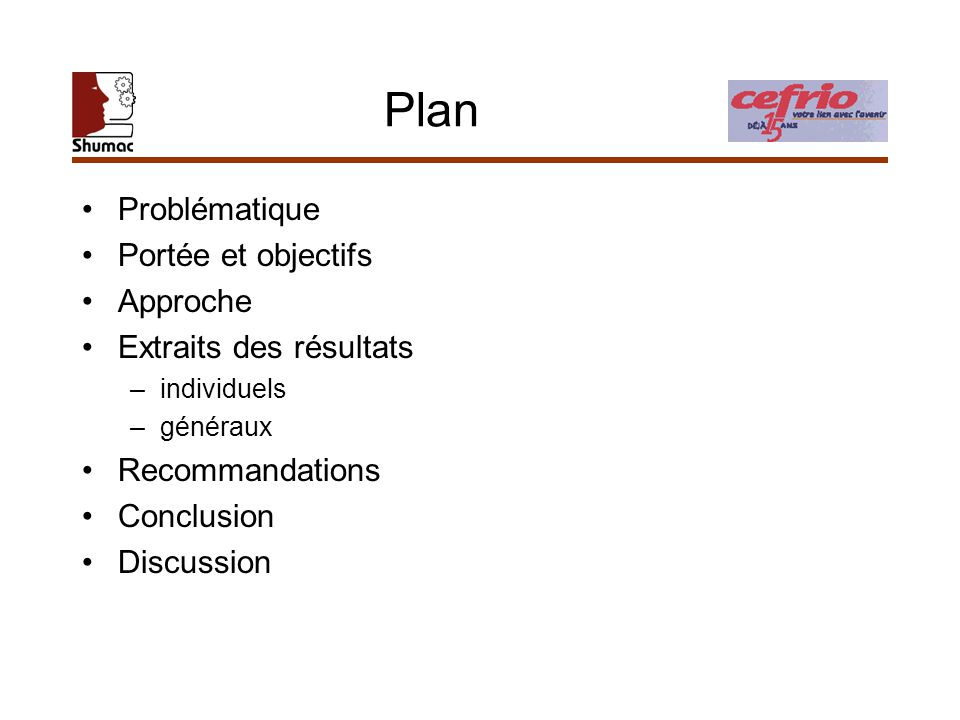 Plan Problématique Portée et objectifs Approche Extraits des résultats –individuels –généraux Recommandations Conclusion Discussion