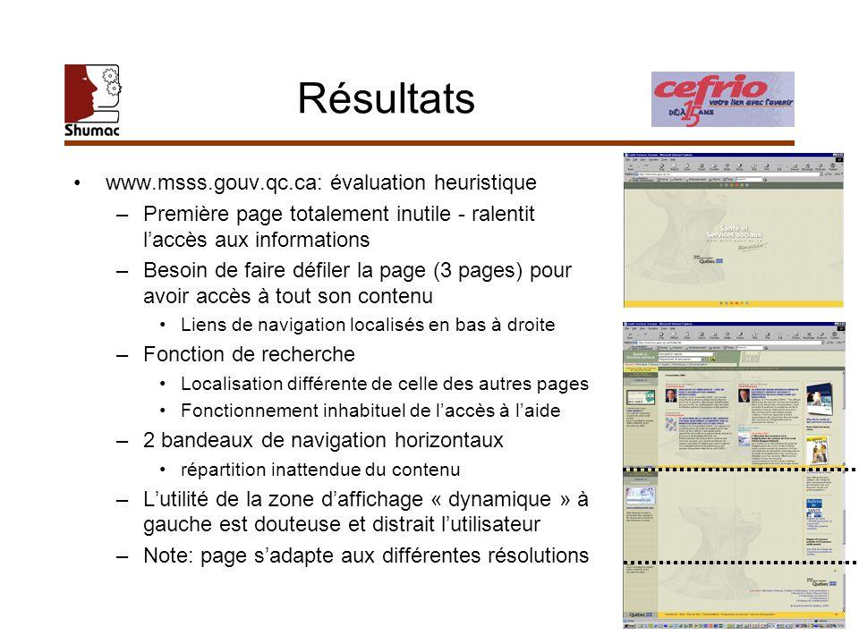 Résultats www.msss.gouv.qc.ca: évaluation heuristique –Première page totalement inutile - ralentit laccès aux informations –Besoin de faire défiler la