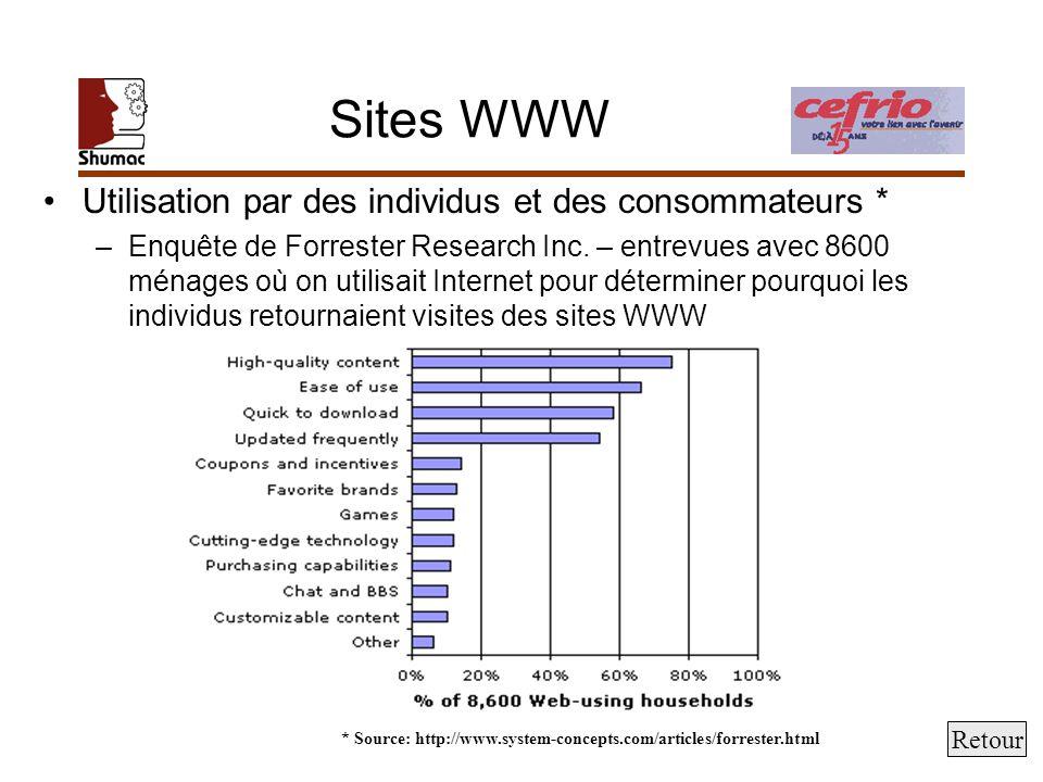Sites WWW Utilisation par des individus et des consommateurs * –Enquête de Forrester Research Inc. – entrevues avec 8600 ménages où on utilisait Inter