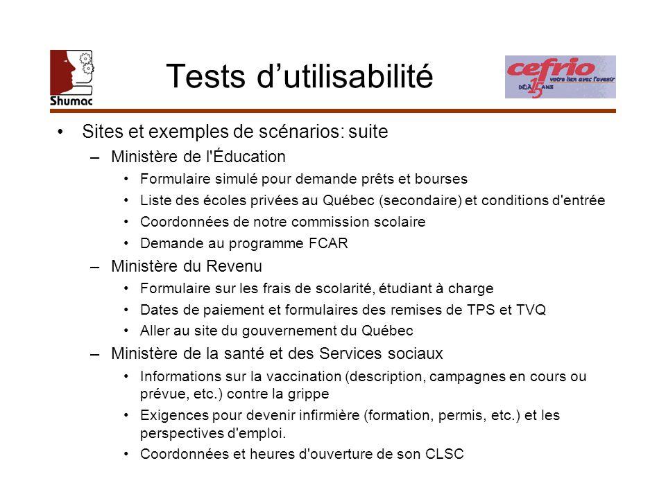 Tests dutilisabilité Sites et exemples de scénarios: suite –Ministère de l'Éducation Formulaire simulé pour demande prêts et bourses Liste des écoles