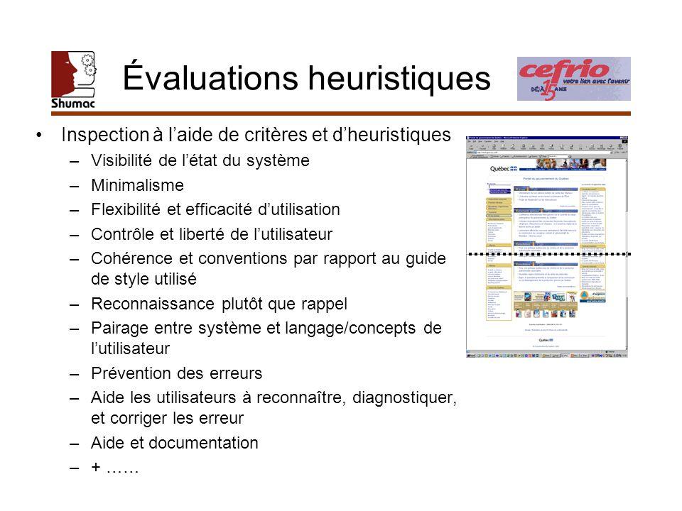 Évaluations heuristiques Inspection à laide de critères et dheuristiques –Visibilité de létat du système –Minimalisme –Flexibilité et efficacité dutil