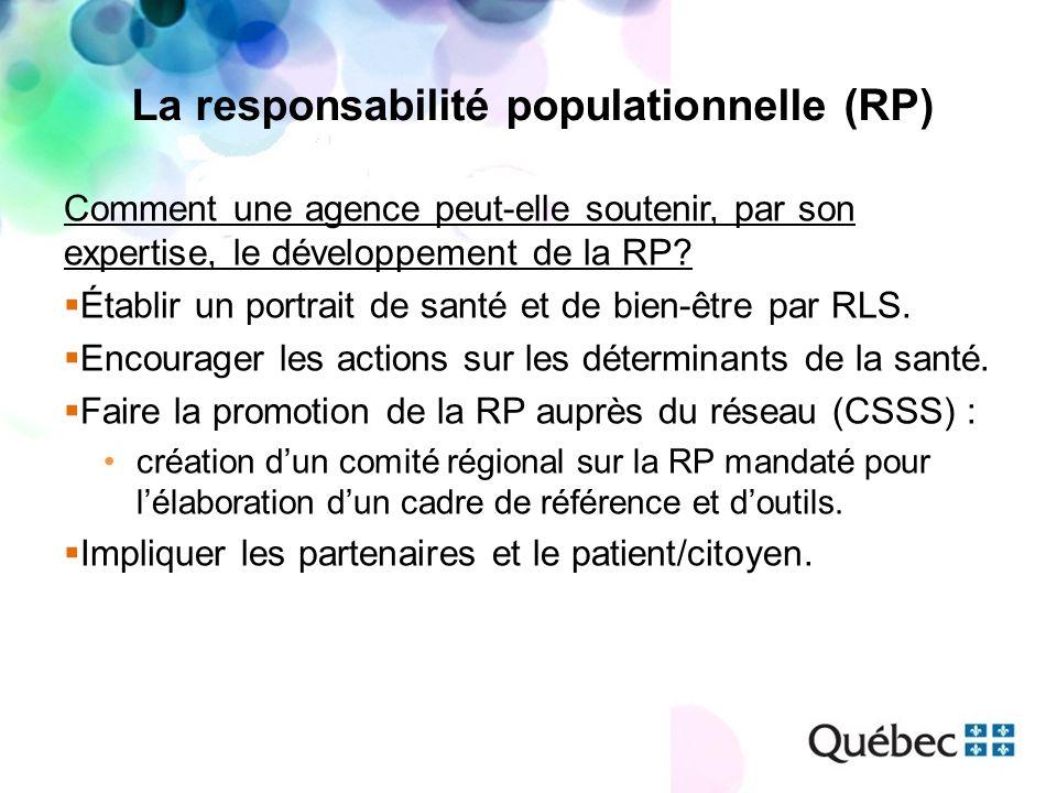 La responsabilité populationnelle (RP) Comment une agence peut-elle soutenir, par son expertise, le développement de la RP? Établir un portrait de san