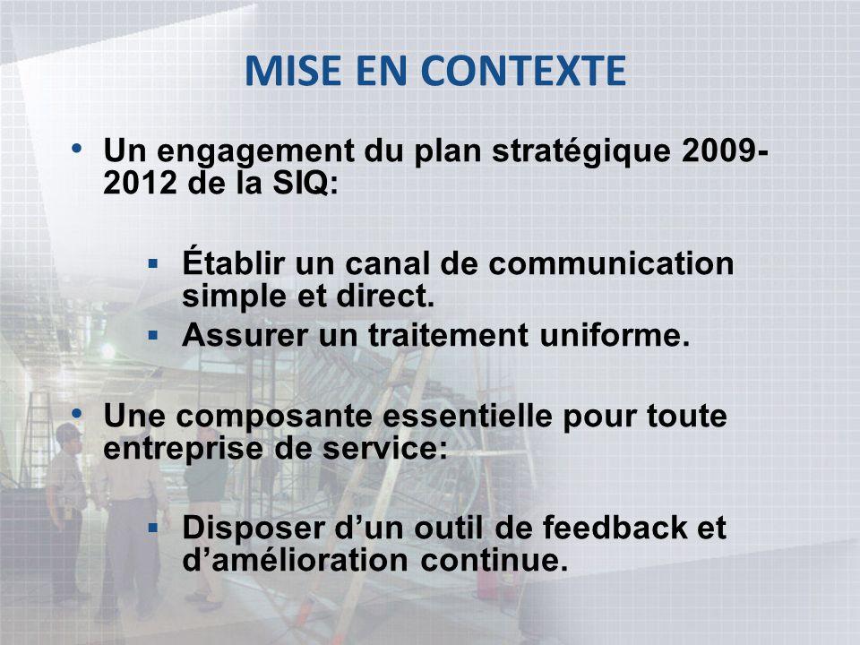 MISE EN CONTEXTE Un engagement du plan stratégique 2009- 2012 de la SIQ: Établir un canal de communication simple et direct. Assurer un traitement uni