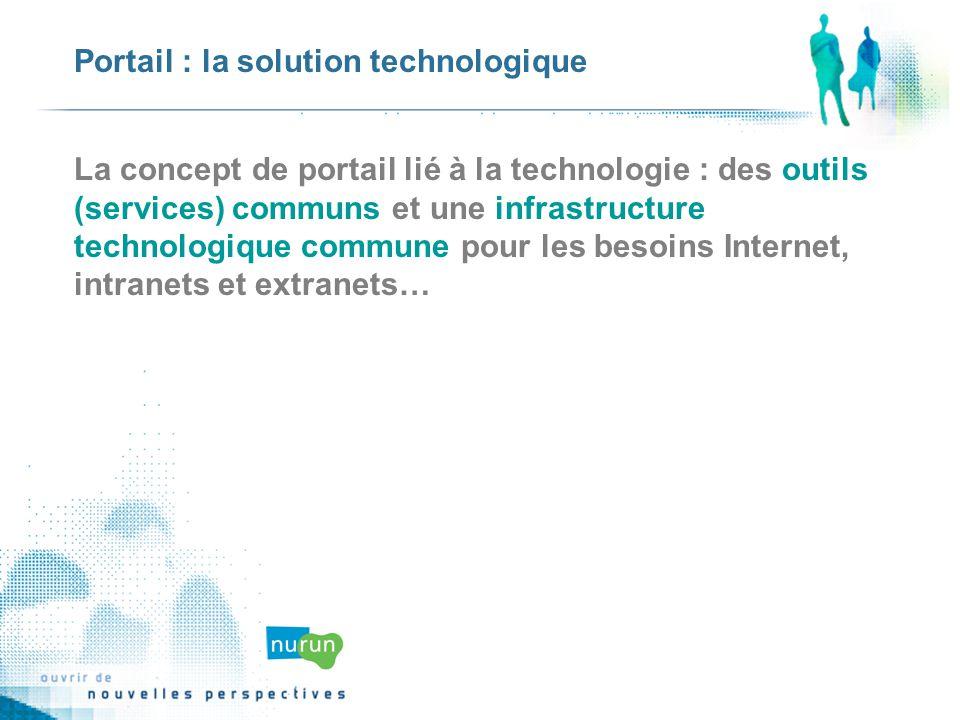 Portail : la solution technologique La concept de portail lié à la technologie : des outils (services) communs et une infrastructure technologique commune pour les besoins Internet, intranets et extranets…