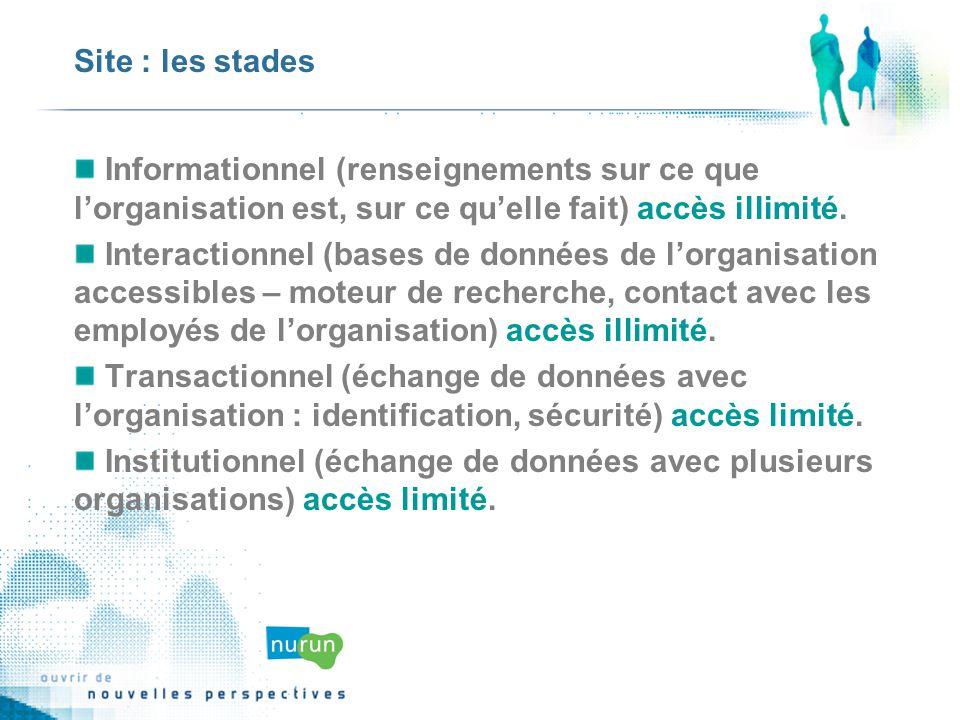 Site : les stades Informationnel (renseignements sur ce que lorganisation est, sur ce quelle fait) accès illimité.