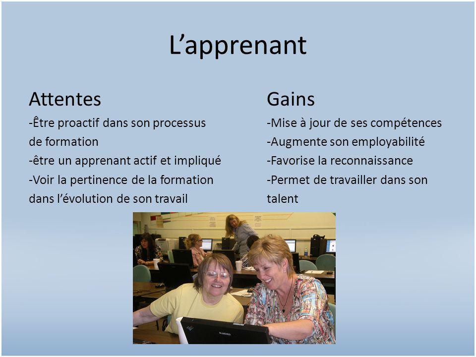 Lapprenant AttentesGains -Être proactif dans son processus -Mise à jour de ses compétences de formation-Augmente son employabilité -être un apprenant actif et impliqué-Favorise la reconnaissance -Voir la pertinence de la formation -Permet de travailler dans son dans lévolution de son travailtalent