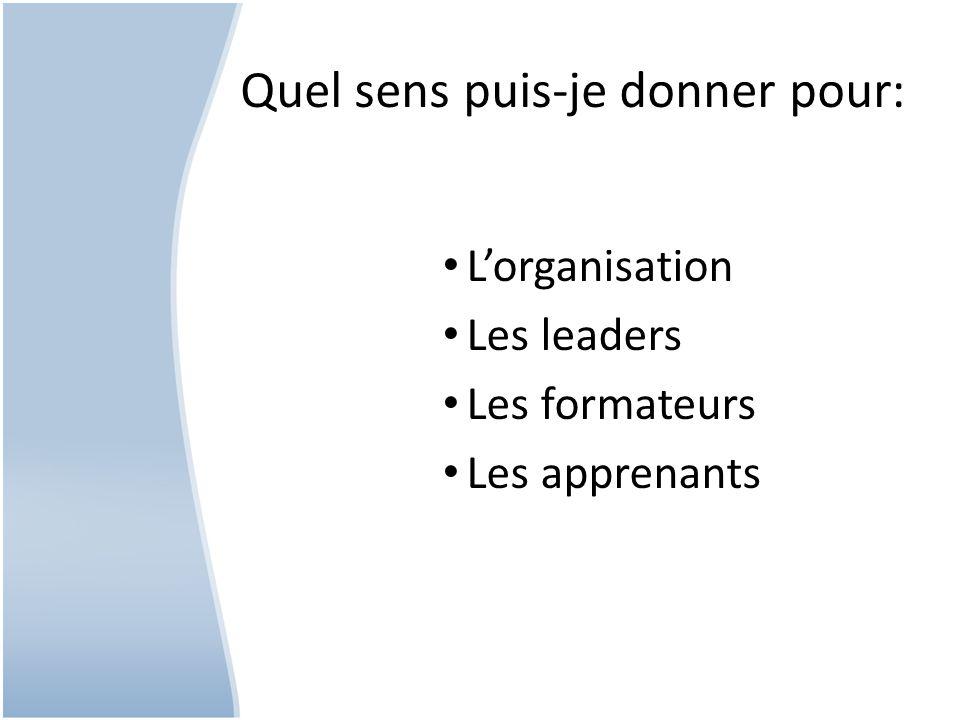 Quel sens puis-je donner pour: Lorganisation Les leaders Les formateurs Les apprenants
