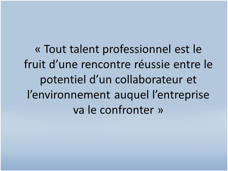 « Tout talent professionnel est le fruit dune rencontre réussie entre le potentiel dun collaborateur et lenvironnement auquel lentreprise va le confronter »