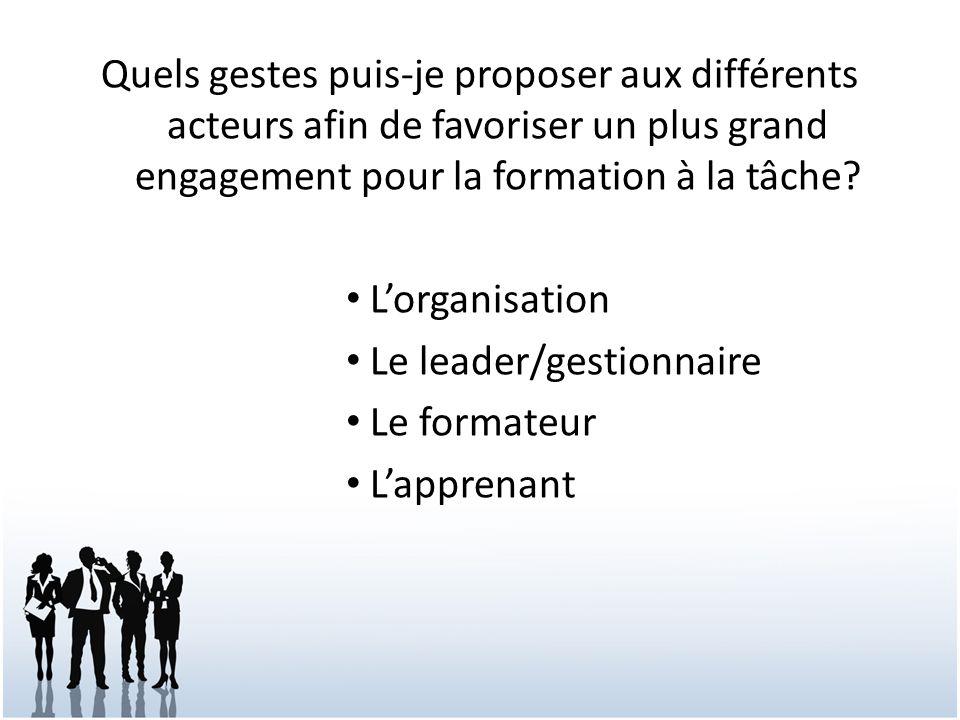 Quels gestes puis-je proposer aux différents acteurs afin de favoriser un plus grand engagement pour la formation à la tâche? Lorganisation Le leader/
