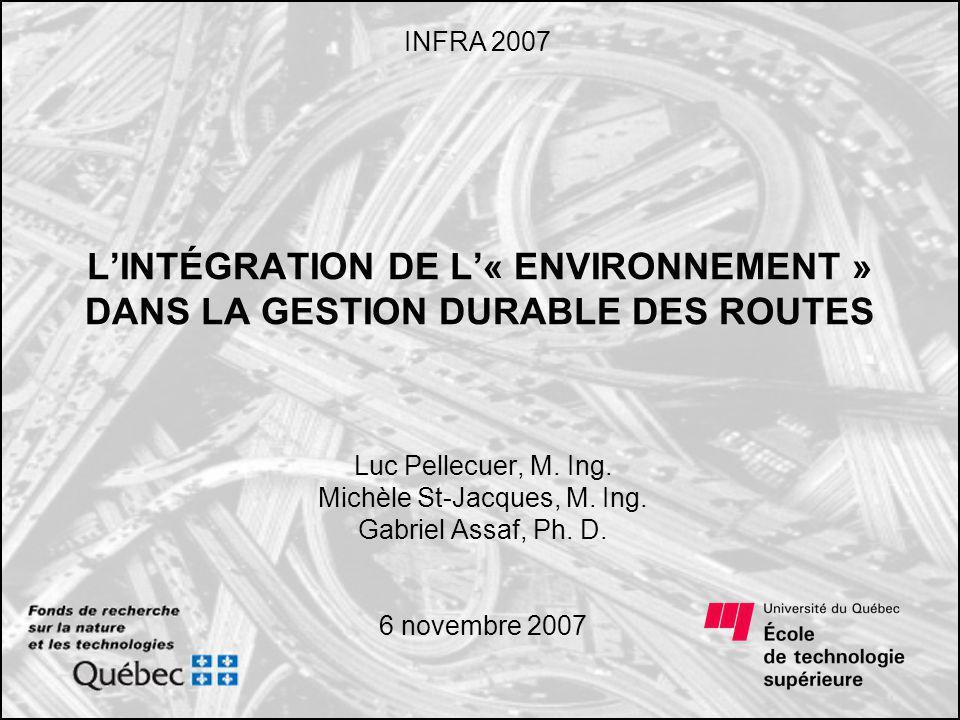Plan de la présentation Introduction Gestion des infrastructures routières Intégration de l« environnement » dans la gestion Conclusion