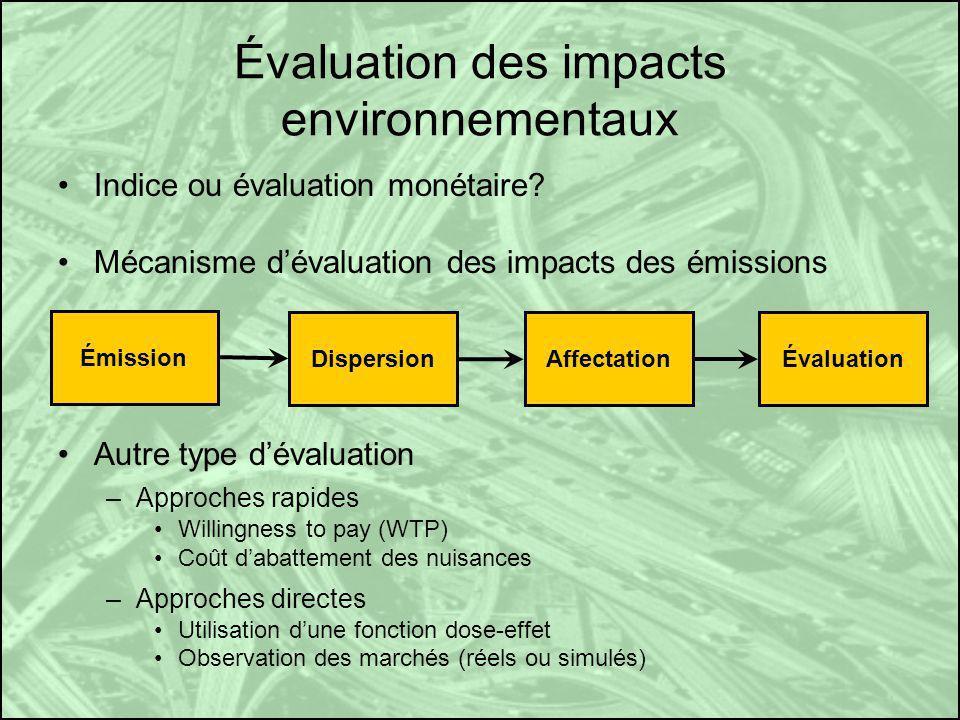 Évaluation des impacts environnementaux Indice ou évaluation monétaire? Mécanisme dévaluation des impacts des émissions Autre type dévaluation –Approc
