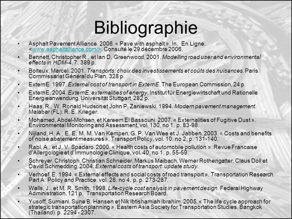 Bibliographie Asphalt Pavement Alliance. 2006. « Pave with asphalt ». In. En Ligne.. Consulté le 29 décembre 2006.www.asphaltalliance.com/> Bennett, C