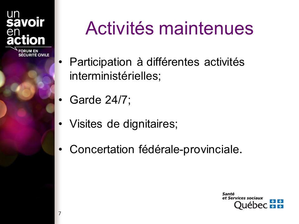 7 Activités maintenues Participation à différentes activités interministérielles; Garde 24/7; Visites de dignitaires; Concertation fédérale-provinciale.