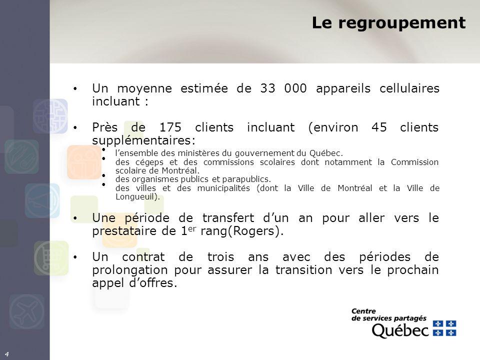 4 Un moyenne estimée de 33 000 appareils cellulaires incluant : Près de 175 clients incluant (environ 45 clients supplémentaires: lensemble des ministères du gouvernement du Québec.
