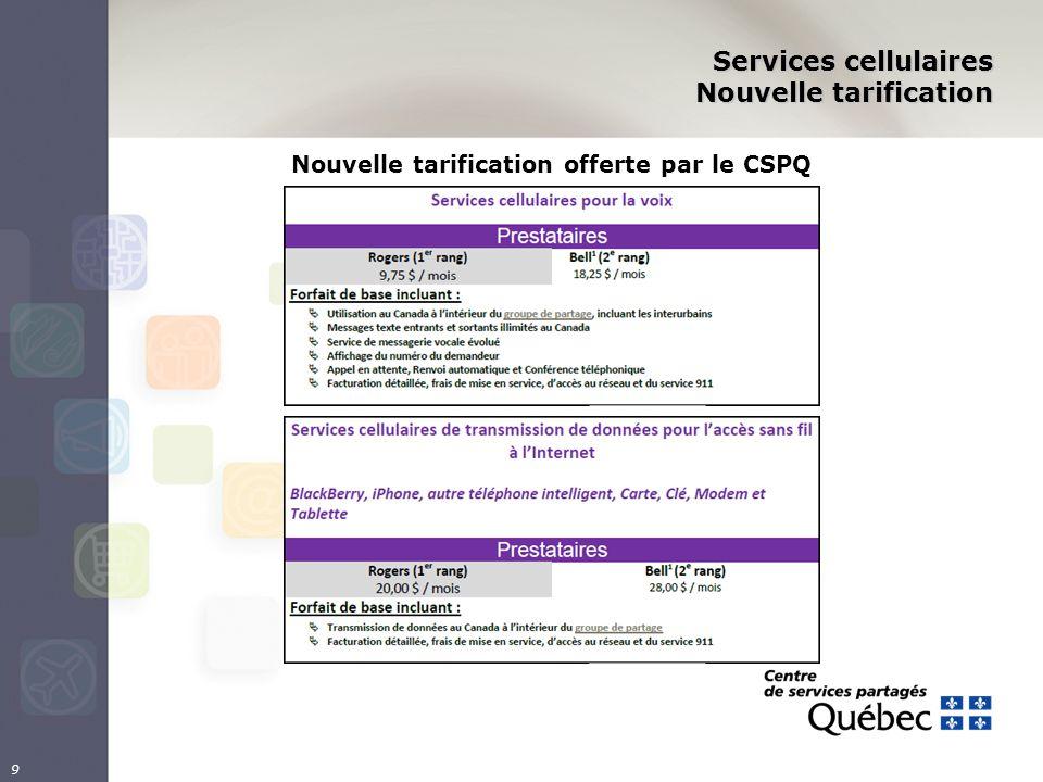 9 Services cellulaires Nouvelle tarification Nouvelle tarification offerte par le CSPQ