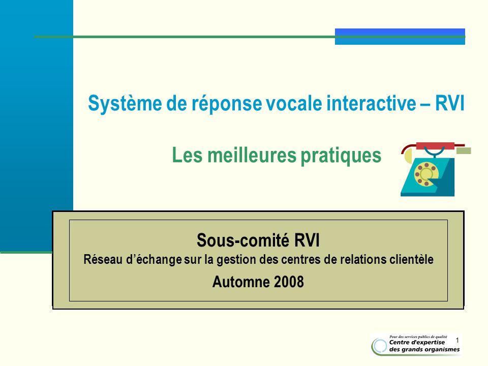 1 Système de réponse vocale interactive – RVI Les meilleures pratiques Sous-comité RVI Réseau déchange sur la gestion des centres de relations clientè