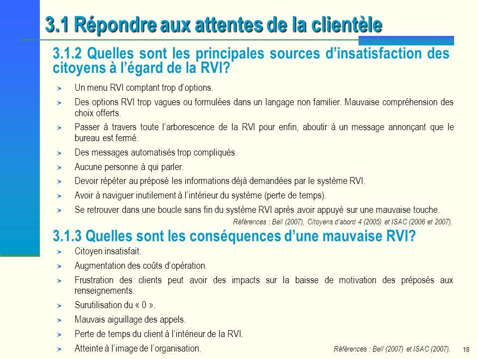 18 Un menu RVI comptant trop doptions. Des options RVI trop vagues ou formulées dans un langage non familier. Mauvaise compréhension des choix offerts