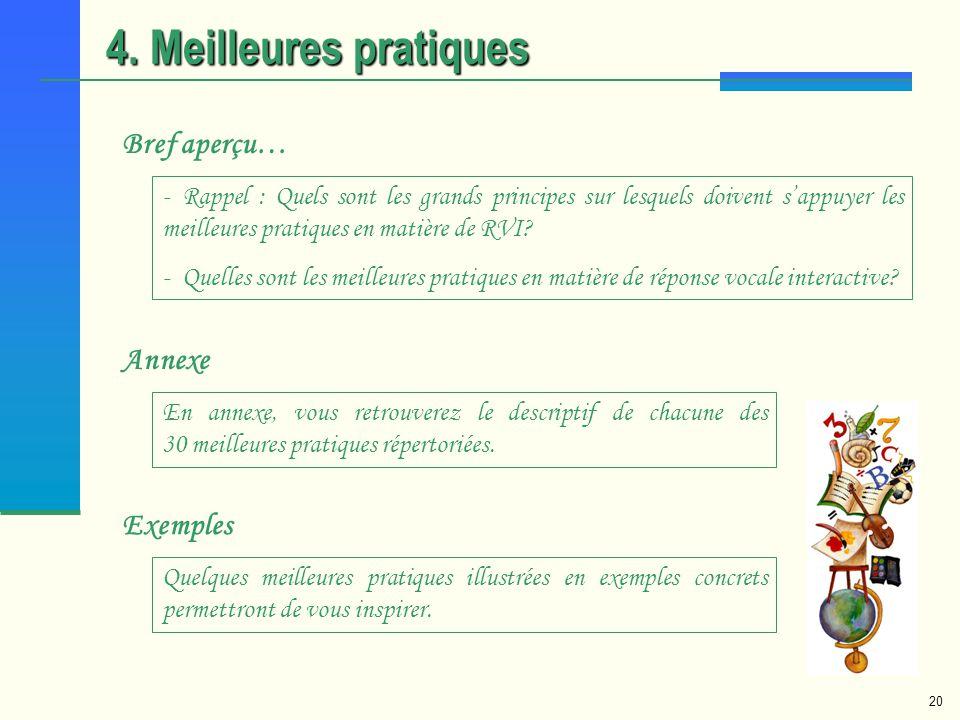 20 4. Meilleures pratiques Bref aperçu… - Rappel : Quels sont les grands principes sur lesquels doivent sappuyer les meilleures pratiques en matière d