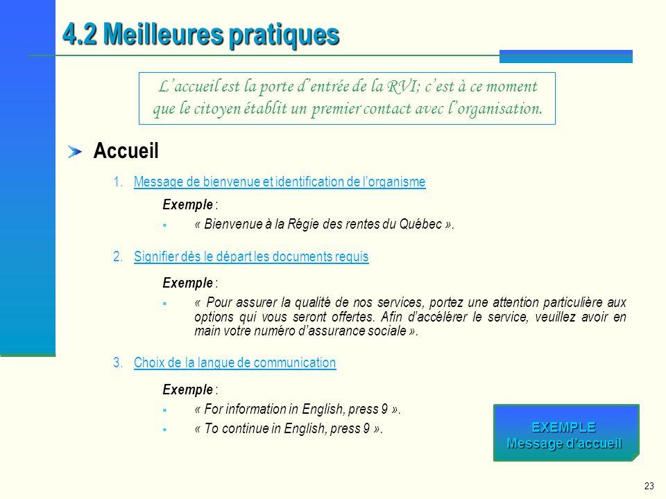 23 Accueil 1.Message de bienvenue et identification de lorganismeMessage de bienvenue et identification de lorganisme Exemple : « Bienvenue à la Régie