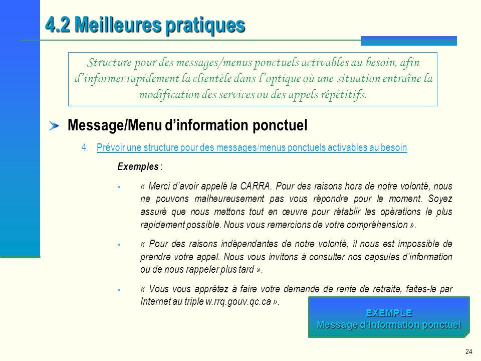 24 Message/Menu dinformation ponctuel 4.Prévoir une structure pour des messages/menus ponctuels activables au besoinPrévoir une structure pour des mes