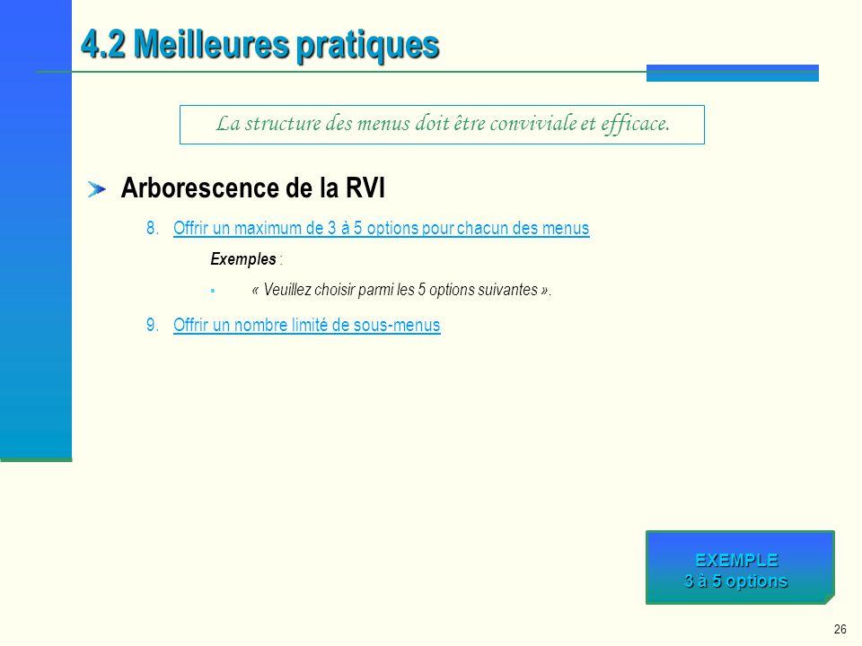 26 Arborescence de la RVI 8.Offrir un maximum de 3 à 5 options pour chacun des menusOffrir un maximum de 3 à 5 options pour chacun des menus Exemples