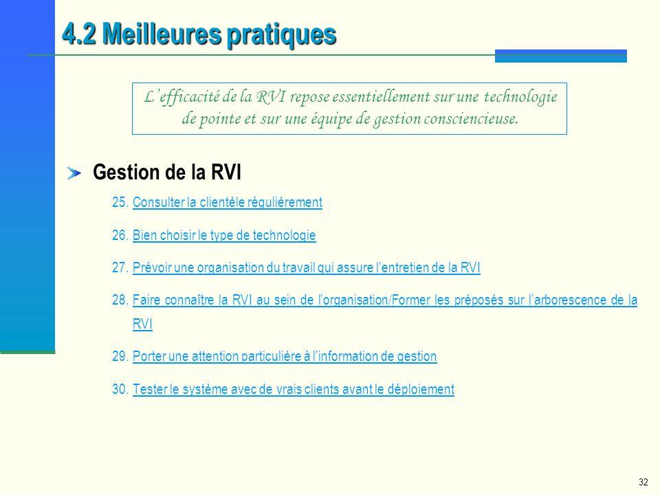 32 Gestion de la RVI 25.Consulter la clientèle régulièrementConsulter la clientèle régulièrement 26.Bien choisir le type de technologieBien choisir le