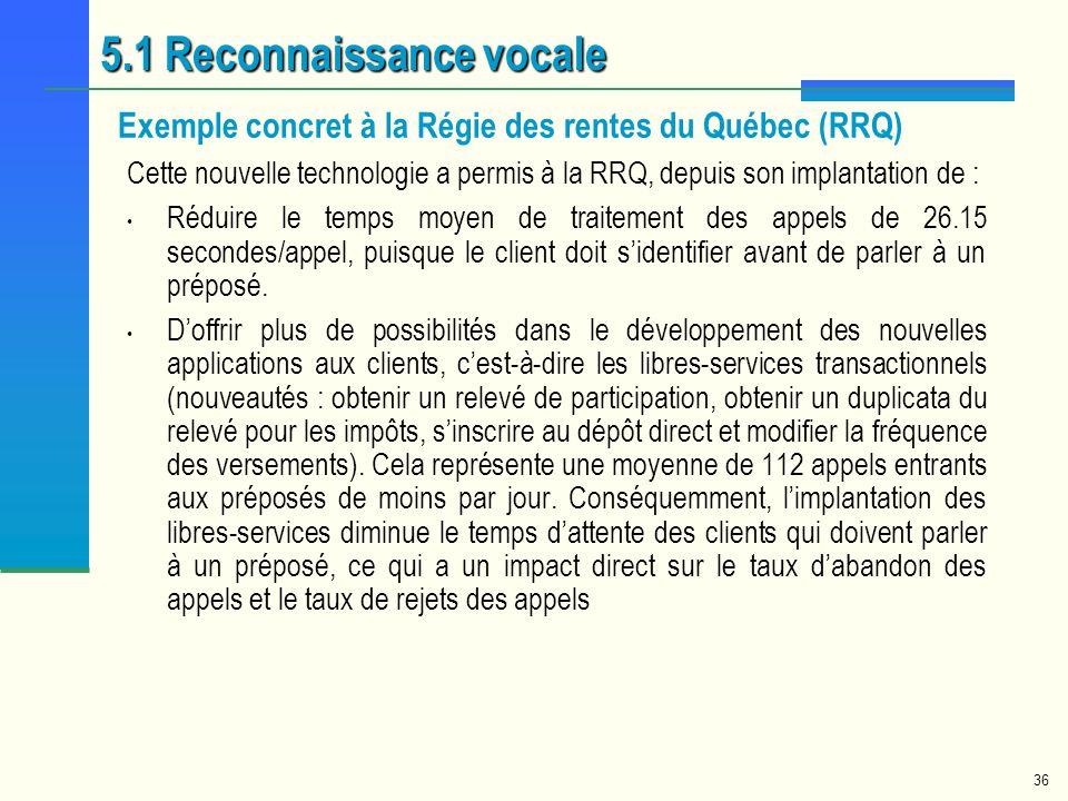 36 Cette nouvelle technologie a permis à la RRQ, depuis son implantation de : Réduire le temps moyen de traitement des appels de 26.15 secondes/appel,