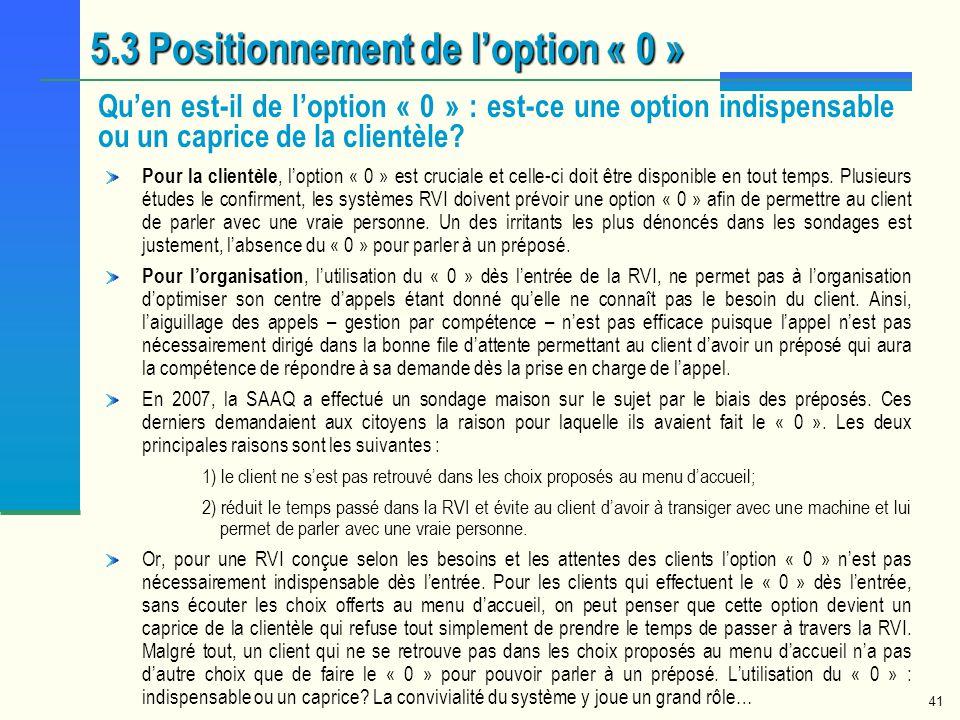 41 5.3 Positionnement de loption « 0 » Quen est-il de loption « 0 » : est-ce une option indispensable ou un caprice de la clientèle? Pour la clientèle