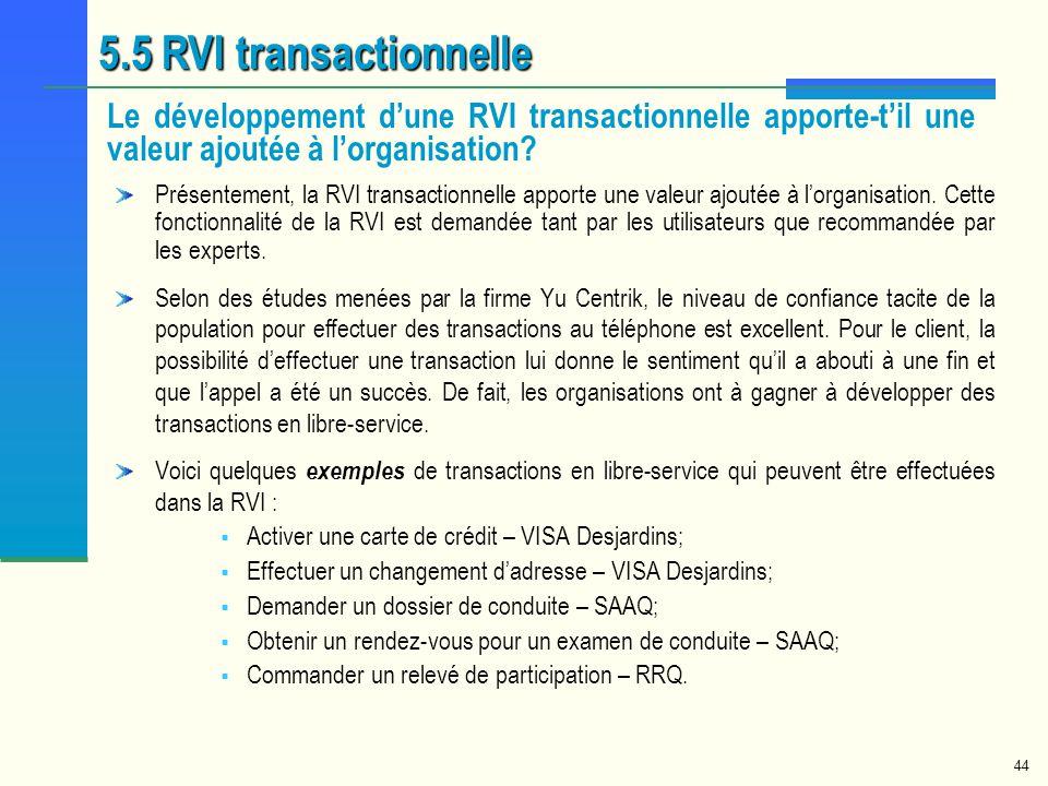 44 5.5 RVI transactionnelle Le développement dune RVI transactionnelle apporte-til une valeur ajoutée à lorganisation? Présentement, la RVI transactio